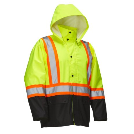Hi Vis Jacket - Safety with snap hood and striping