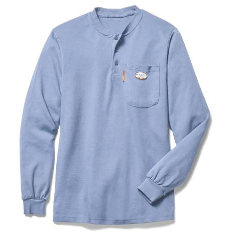 Work blue Fire resistant henley shirt