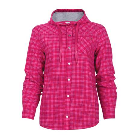 pink raspberry lined plaid flannel hooded women's shirt