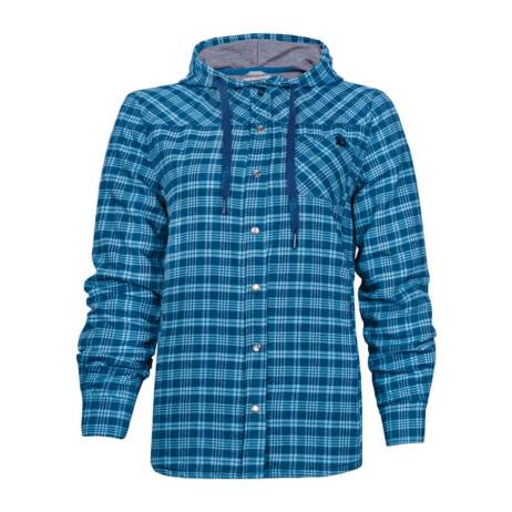 blue plaid lined flannel hooded shirt
