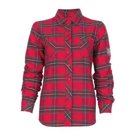 red plaid flannel ladies shirt