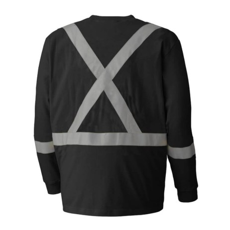 black flame resistant long sleeved cotton safety shirt