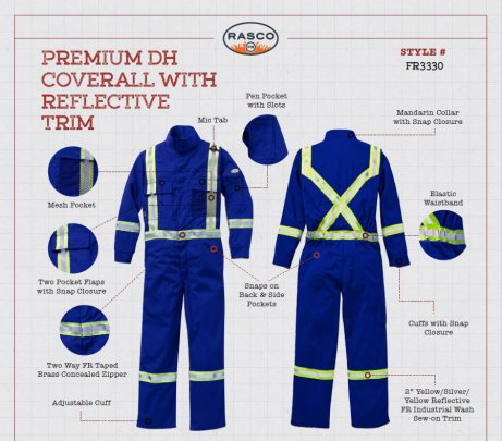dh rasco premium royal blue coverall