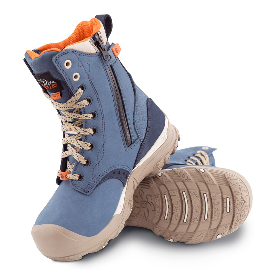 Waterproof Laced Work Boots With Zipper