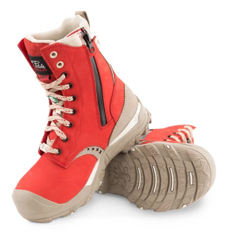 red waterproof laced work boots with zipper