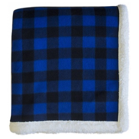 blue lumberjack sherpa throw