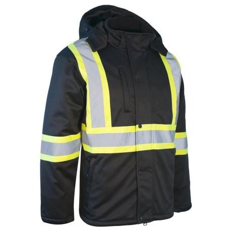 black softshell winter safety jacket