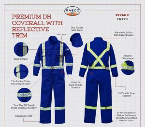 Rasco FR Dual Hazard Coveralls, their features and safety specifications