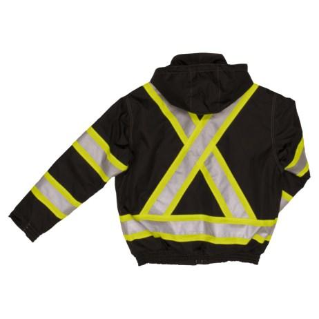 black safety bomber jacket back