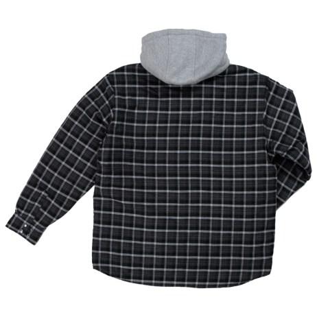 fooler front quilt lined flannel hooded shirt back