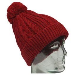 Red Knit Toque with Red Pompom