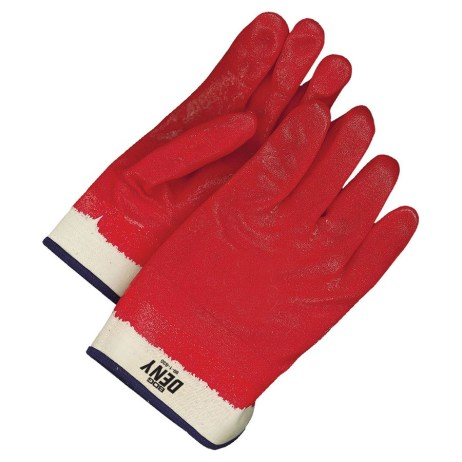 pvc safety cuff glove red