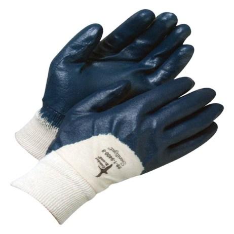 nitrile dipped blue gloves