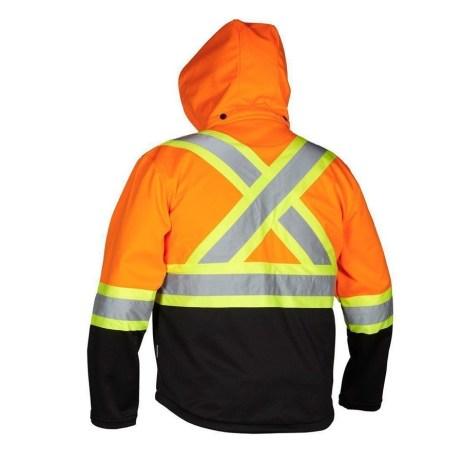 orange rain jacket back