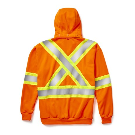 hi-viz zip hoodie orange back