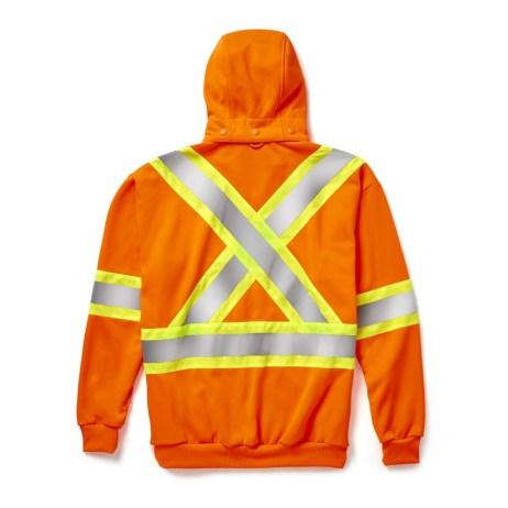 hi-viz zip hoodie orange back