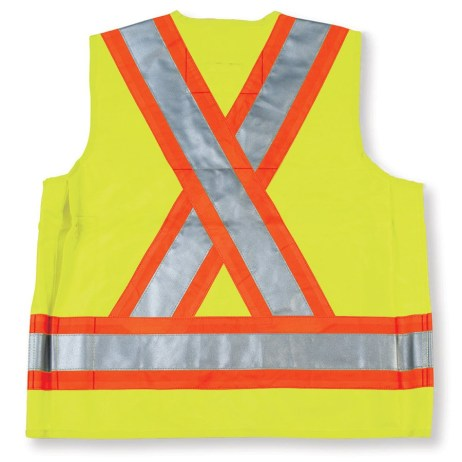 lime surveyor vest back