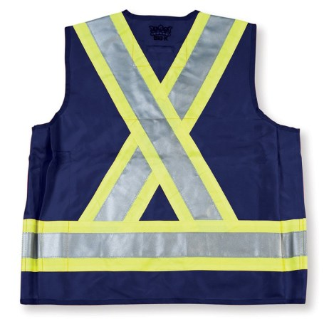navy surveyor vest back