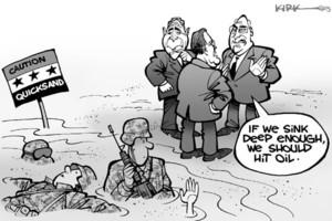 Iraq war and corruption, cartoon