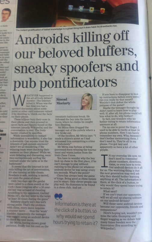 Sinead Moriarty Newspaper Article.