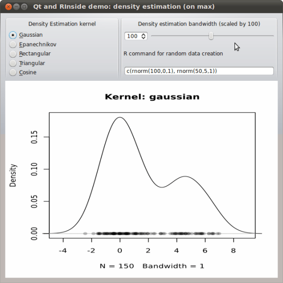 Example of embedding R via RInside into a Qt C++ application: density estimation for a mixture