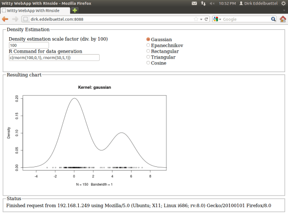 Example of embedding R via RInside into a Wt C++ application: density estimation for a mixture