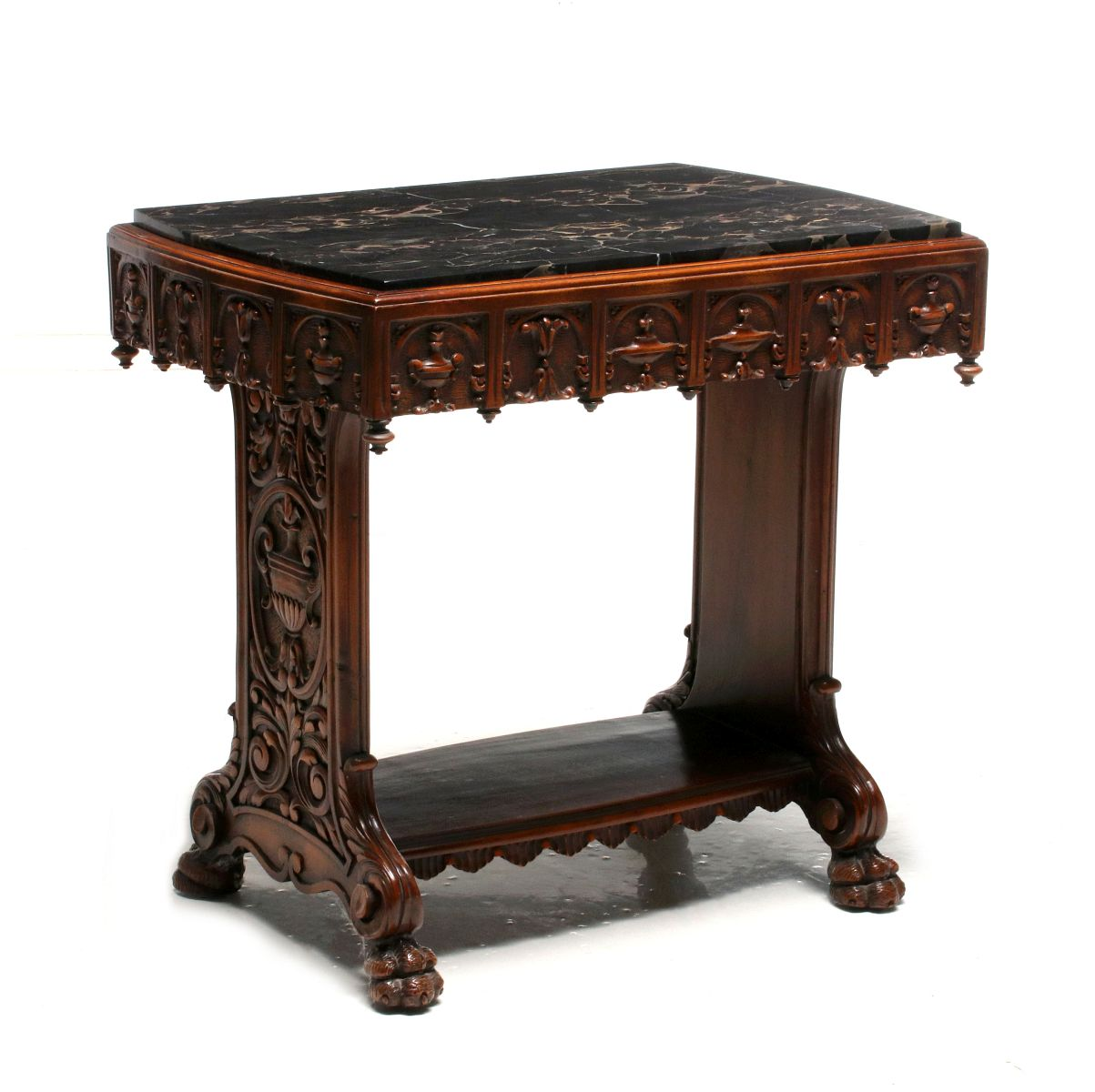 78 An Early 20th Cent Carved Side Table With Black Marble