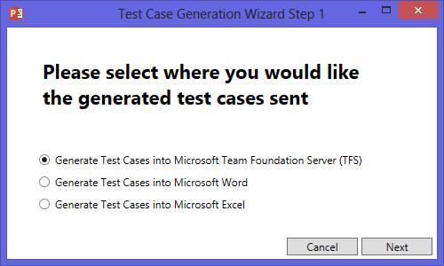 Test Case generation Wizard Step 1