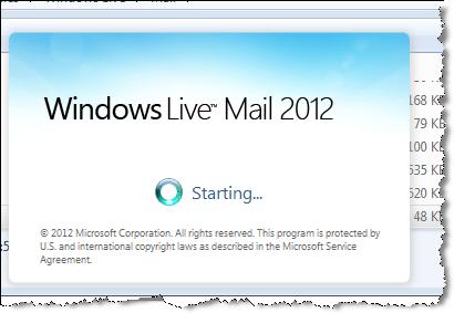 windows live mail starting