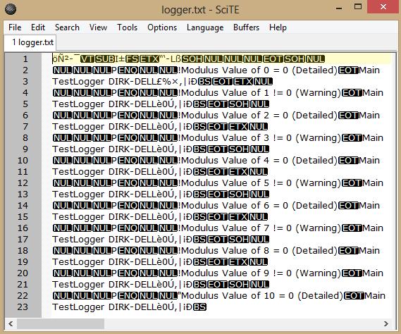 binary output log file