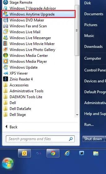 Start menu showing Anytime Upgrade