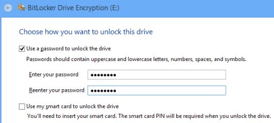 Bitlocker Drive Encryption unlock dive options
