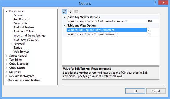Change Select and Edit Rows Option in SQL Server