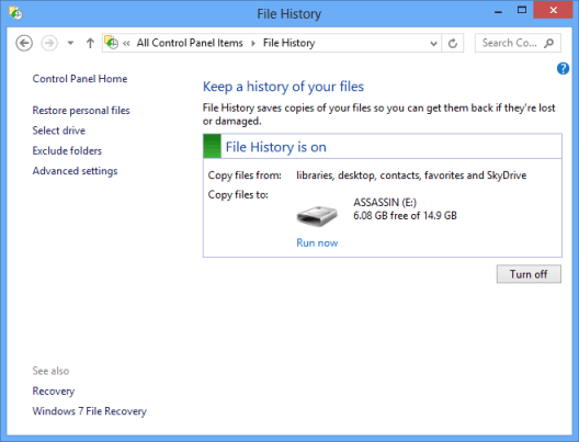 Windows 8 File History Settings