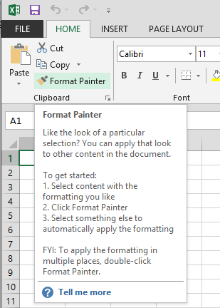 Office Excel 2013 Format Painter Option