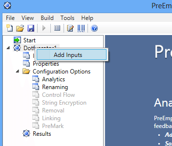 Visual Studio 2012 Dotfuscator Add Inputs