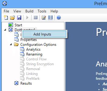 Visual Studio 2012 Dotfuscator Add Inputs