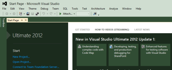 Visual Studio 2012 Start Page Lowercase Menu