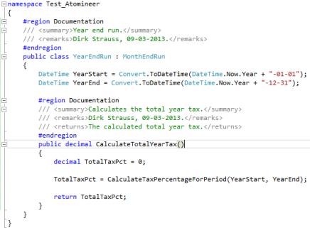 Visual Studio 2012 Code Block