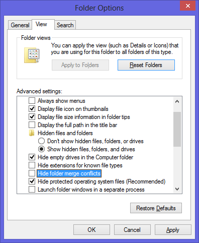 Windows 8 Hide Merge Conflict