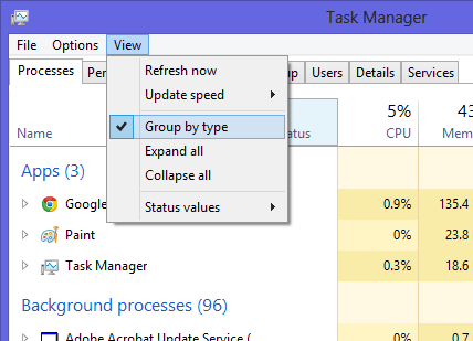 Disable Group Processes Task Manager