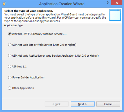 Application Creation Wizard Select Application Type