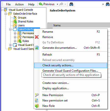 Visual Guard Check Security Actions