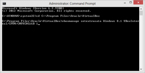 Command Prompt VirtualBox