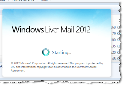 windows live mail starting