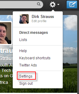 twitter profile settings