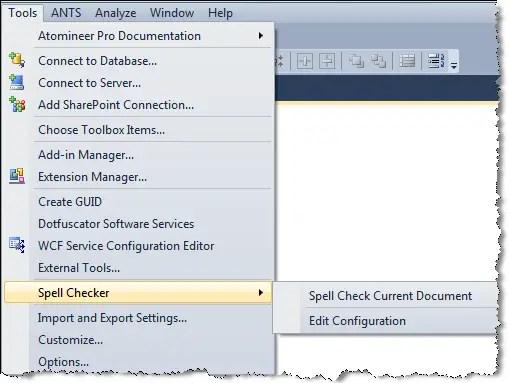 visual studio spell checker options