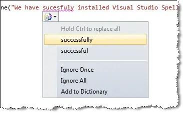 visual studio spell checker suggestions