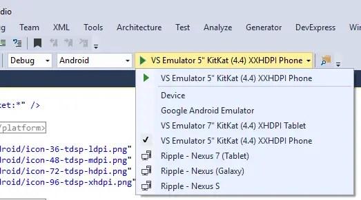 Visual Studio Enterprise 2015 VS Android Emulator Selection