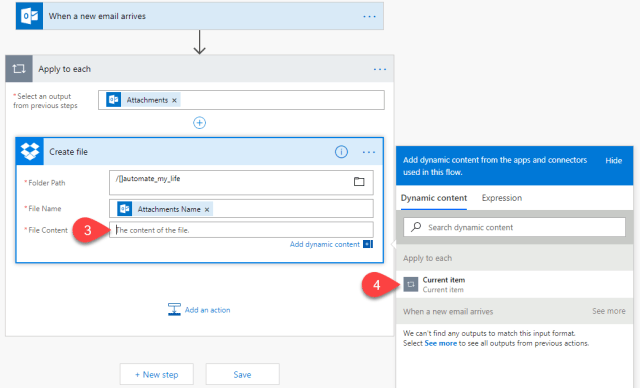 Email Automation Microsoft Flow dropbox file content